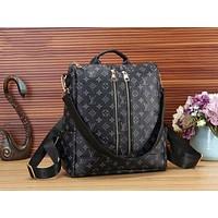 LV Louis Vuitton Trending Stylish Monogram Leather Travel Bookbag Shoulder Bag Double Zipper Backpack Black LV Print I-WMXB-PFSH