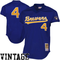 Paul Molitor Milwaukee Brewers 1991 #4 Mitchell & Ness Cooperstown Collection Authentic Practice Jersey - Royal Blue