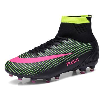 New Arrival Soccer Shoes Futsal Football Boots For Men FG High Ankle Kids Turf Indoor Cleats Sneakers Trainer Size 35-46