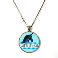 Cute Kawaii save the unicorns Necklace - Funny Bubblegum Goth Pastel Goth Soft Grunge Jewelry