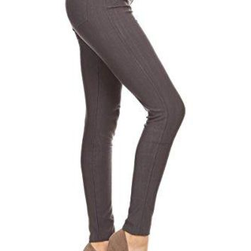 Leggings Depot Premium Quality Jeggings Regular and Plus Soft Cotton Blend Stretch Jean Leggings Pants wPockets
