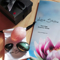Yoni Eggs Set of 3 - with pouch and practice guide - Genuine Jade, Obsidian or Rose Quartz - DRILLED - Ultimate beginner Set