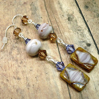 Picasso Glass Handmade Lampwork Tanzanite Crystal Dangle OOAK Earrings