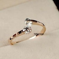 Elegant Jewelry 18K Rose Gold GP Austrian Crystal Unique Ring Size 4,5,6,7,8,9