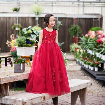 Camellia Wine Floral Gown Dress - Toddler & Girls