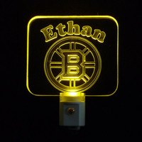 Personalized Boston Bruins Hockey Night Light, Or Favorited Team Customized with Name