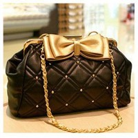 New Arrival Rhombus Embossing and Bowknot Embellished One-Shoulder Bag For Female