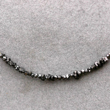 Black Rough Diamond and 14k White Gold Birthstone Necklace