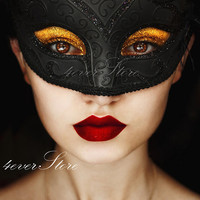 Halloween Special Sale! Classic Elegant Black Masquerade Mask with Black Glitter Lining and Engraving - High Fashion Design