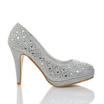Apple2 By Top Moda, Round Toe Glitter Mesh Rhinestone Studded Low Platform Pump Heels