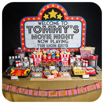 Movie Night; Movie Night Party; Movie Night Birthday Party;  Movie Night Birthday Party for 12 Printed, Cut, and Shipped to you!
