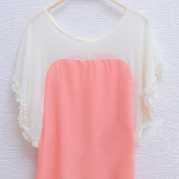 Pink Frill Batwing Sleeve Scoop Neck Chiffon Blouse - Sheinside.com