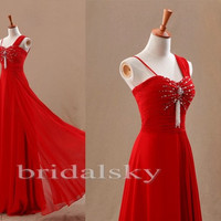 Long Red Chiffon Bridal Dresses Formal/Informal Occasions Prom Dresses Evening Dresses Homecoming Dresses