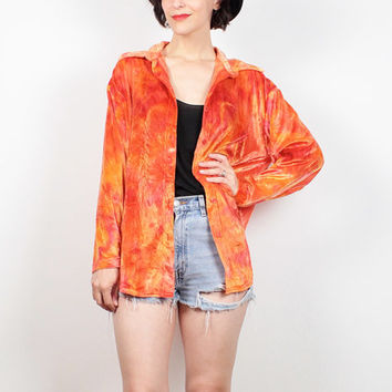 Vintage 90s Velvet Shirt Bright Orange Yellow Gold Red Tie Dye Crushed Velvet Shirt Jacket Blouse Top 1990s Club Kid Soft Grunge M L Large
