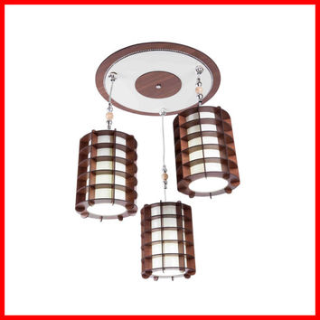 Designer Art Wooden Fixtures Lamp Chandelier Ceiling Special Pendant Lighting, Carving, Laser Cutting Lamp Shade