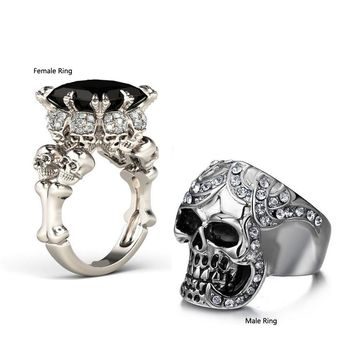 Couple Rings Punk Jewelry 10KT White Gold Filled CZ Zirconia Princess Combination Men Wedding Skull Ring
