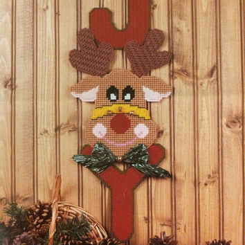 Jolly Reindeer Wall Hanging Plastic Canvas