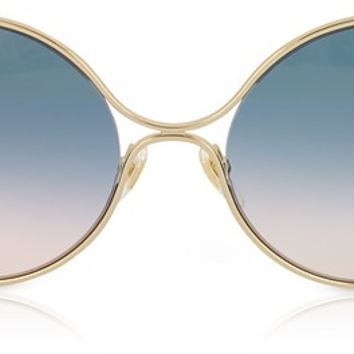 Gucci GG0253S Round-frame Metal Sunglasses w/GG Pearls