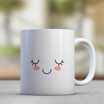 Emoticons - Eyelashes - Lashes - Cute Mugs - Gift for Her - Sister Gift - Girlfriend Gift - Coffee Mugs - Tea