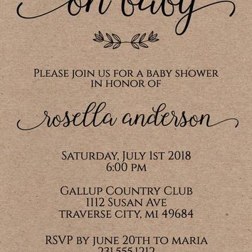 Kraft Baby Shower Invitation