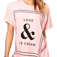 Love & Ice Cream Pink Tee