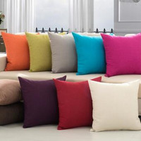 ARTRYST 45X45cm minimalist plain solid color linen car seat cushion sofa pillow cover pillowcase chair by home decoration