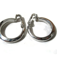Silver Tone Bergere Hoop Earrings Retro Mid Century Clip Back Womens Jewelry