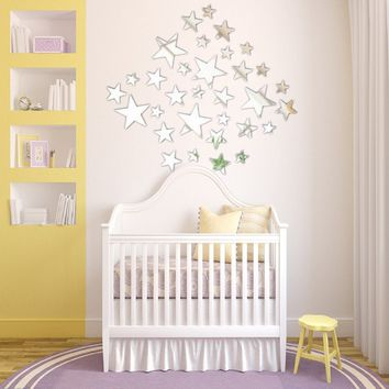 3D Removable Decal Star DIY Mirror Wall Sticker Kids Room Living Room Home Decor