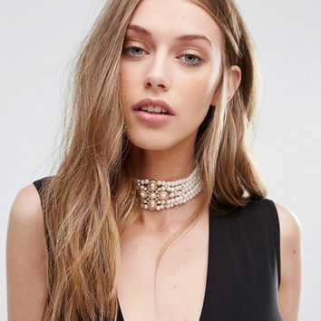 ALDO Raggiolo Layered Pearl Choker at asos.com