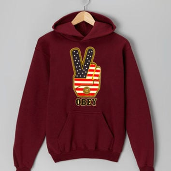Obey Peace Sign Logo with american flag maroon hoodie for men and women