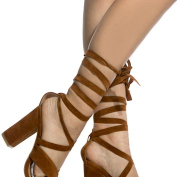 Chestnut Faux Suede Chunky Wrap Around Heels @ Cicihot Heel Shoes online store sales:Stiletto Heel Shoes,High Heel Pumps,Womens High Heel Shoes,Prom Shoes,Summer Shoes,Spring Shoes,Spool Heel,Womens Dress Shoes