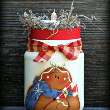 Handpainted Gingerbread Jar with LED Tealite