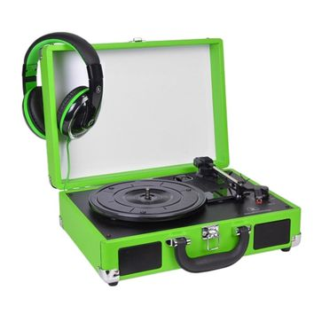 Innovative Technology 3-Speed Vintage Suitcase Turntable w-Built-in Stereo Speakers & Matching Headphones (Lime Green)