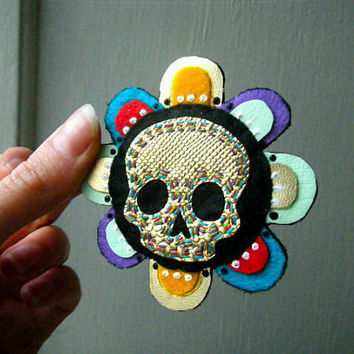 Felt and Fake Leather Brooch  Rainbow Petal Skull  by CandyBandits