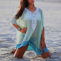 Woman Summer Mesh Cover-up V-neck Bikini Cover Ups Women Swimsuit Covers up Beachwear Beach Tunic Bathing Suit Coverups