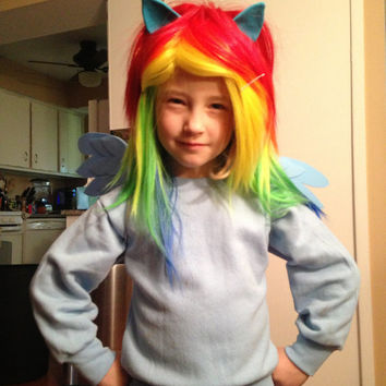 Rainbow Dash Wig MLP Raibow Unicorn Pony Costume My Little Pony With Ears, Child,