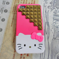 Hello kitty iPhone 4,4S hand case cover with bronze pyramid stud For iPhone 4 Case, iPhone 4s Case, iPhone 4 GS Case,case cover