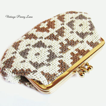 Vintage Stitched Wool Coin Purse Wallet
