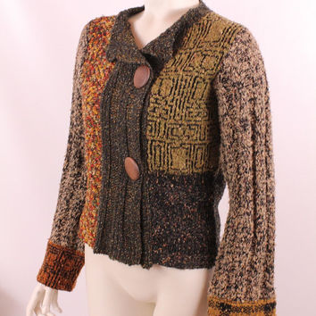 Vintage 90s - Natural Neutral Tone Patchwork - Large Wood Button Up - Belled Sleeve - Cardigan Soft Sweater - Hippie Boho New Age