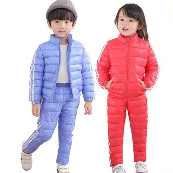 Winter Kids Down Jacket Boys Ski Suits Warm Clothes Baby Girls Snowsuits Cotton Jackets+Skiing Pants 2PCS Clothing Set