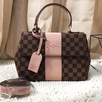 Louis Vuitton Women Fashion Leather Handbag Bag Square Bag Pink