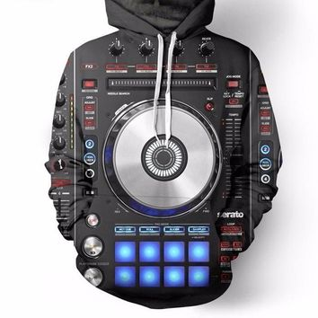 Vinyl DJ Music Studio 3D Print Hoodies Men Women Pullover Hip Hop Jumper Casual Hipster Sportswear Dropship
