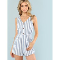 Blue V-Neck Sleeveless Romper