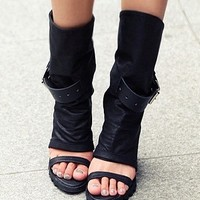 Black Open Toe Straps Wedges Platforms Boots US 5-9 by dithzzappear on Sense of Fashion