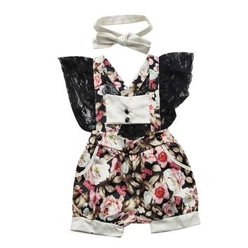Newborn Infant Baby Girl Floral Lace Romper ruffles Sleeve Jumpsuit Outfits Baby Clothing