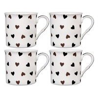 Home Essentials 4-pc. Black & White Hearts Mug Set