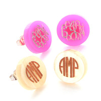 Acrylic Round Monogram Earrings