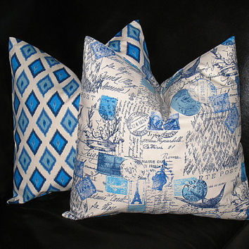 """Cobalt Blue IKAT French Script Decorative Pillow Covers 18x18 inches Postage Accent Pillow Shams 18"""" Turquoise, Blue, Natural"""