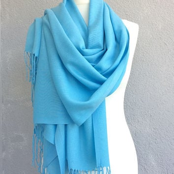 Pashmina Scarf, Bridesmaid Shawl, Wedding Blue Scarf, Turquoise Scarf, Tassel Wrap Scarf, Cotton Linen Shawl, Fringed Shawl, Bridal Shawl