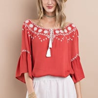 IN STORE Red Crimson Embroidered Front Tie Blouse Top with 3/4 Bell Sleeve